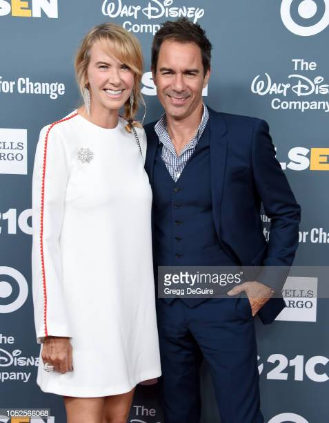 Actor Eric McCormack and wife Janet Holden arrive at the GLSEN Respect Awards at the Beverly Wilshire Four Seasons Hotel on October 19 2018 in...