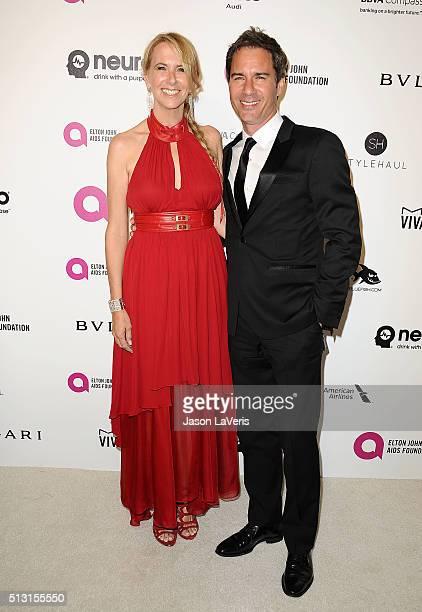 Actor Eric McCormack and wife Janet Holden attend the 24th annual Elton John AIDS Foundation's Oscar viewing party on February 28 2016 in West...