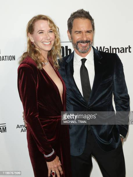 Actor Eric McCormack and wife Janet McCormack attends the 28th Annual Elton John AIDS Foundation Academy Awards Viewing Party on February 9 2020 in...