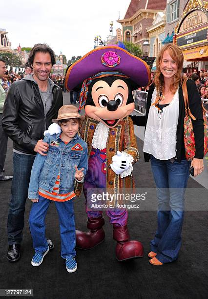 Actor Eric McCormack Finnigan McCormack Mickey Mouse and Janet Holden arrive at the world premiere of Pirates Of The Caribbean On Stranger Tides at...