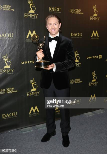 Actor Eric Nelsen attends the press room at the 45th Annual Daytime Creative Arts Emmy Awards at the Pasadena Civic Auditorium on April 27 2018 in...