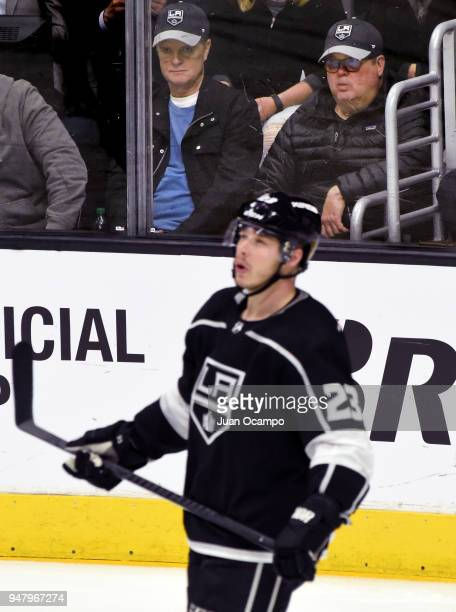 Actor Eric Stonestreet right watches Game Four of the Western Conference First Round between the Los Angeles Kings and the Vegas Golden Knights as...