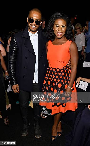 Actor Eric West and actress Uzo Aduba attend the Vivienne Tam fashion show during MercedesBenz Fashion Week Spring 2015 at The Theatre at Lincoln...