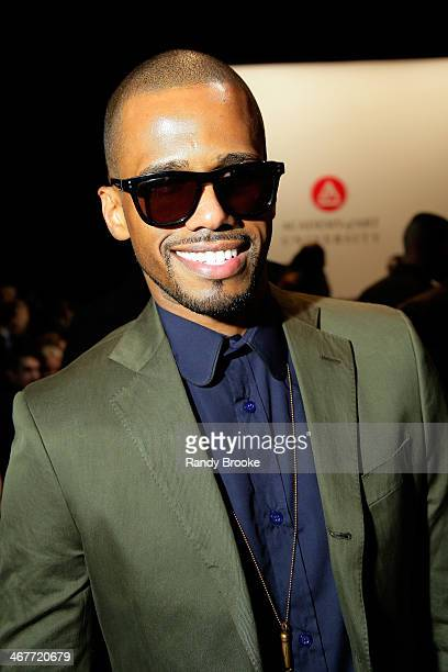 Actor Eric West attends the Academy Of Art University Fall 2014 Collections show during MercedesBenz Fashion Week at The Theatre at Lincoln Center on...
