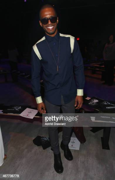 Actor Eric West attends the Emerson By Jackie FraserSwan fashion show during MercedesBenz Fashion Week Fall 2014 at The Pavilion at Lincoln Center on...