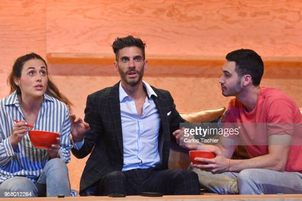 Actor Erick Elias and actress Zuria Vega perform a scene on stage of the theater play 'Straight' during a Press Performance at Milan Theatre on May...