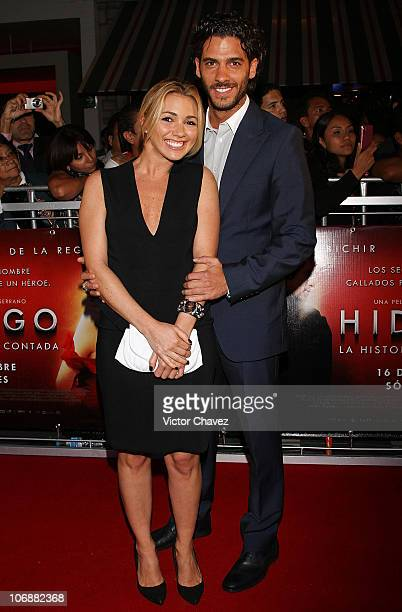 Actor Erick Elias and his wife Karla Guindi attend Hidalgo La Historia Jamas Contada premiere at Cinemex Antara Polanco on September 13 2010 in...