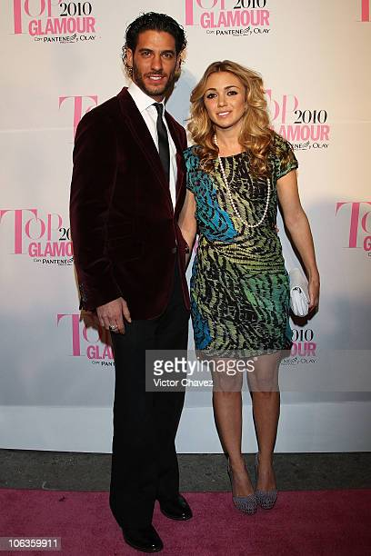 Actor Erick Elias and his wife Karla Guindi attend the Top Glamour Awards 2010 pink carpet at Casino Del Bosque on October 28 2010 in Mexico City...