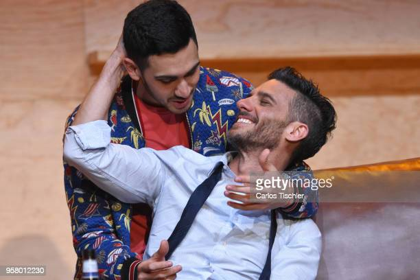 Actor Erick Elias performs a scene on stage of the theater play 'Straight' during a Press Performance at Milan Theatre on May 11 2018 in Mexico City...