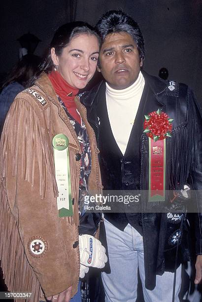 Actor EriK Estrada and fiance Nanette Mirkovich attend the 63rd Annual Hollywood Christmas Parade on November 27 1994 at KTLA Studios in Hollywood...