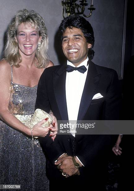 Actor Erik Estrada and girlfriend Peggy Rowe attend the 16th Annual Nosotros Golden Eagle Awards on June 27 1986 at the Beverly Hilton Hotel in...