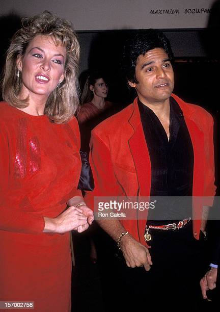 Actor Erik Estrada and girlfriend Peggy Rowe attend the American Red Cross Benefit Dinner on January 9 1985 at the Bistango Restaurant in Los Angeles...