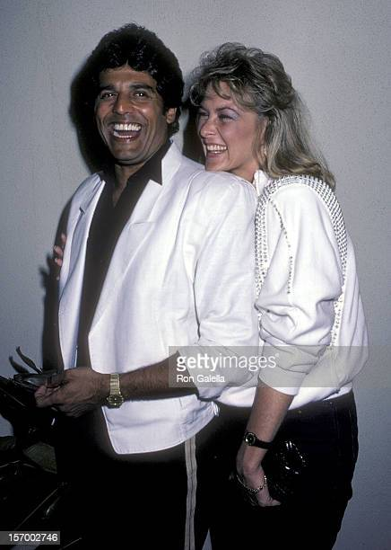 Actor Erik Estrada and girlfriend Peggy Rowe on August 28 1984 dine at Spago in West Hollywood California