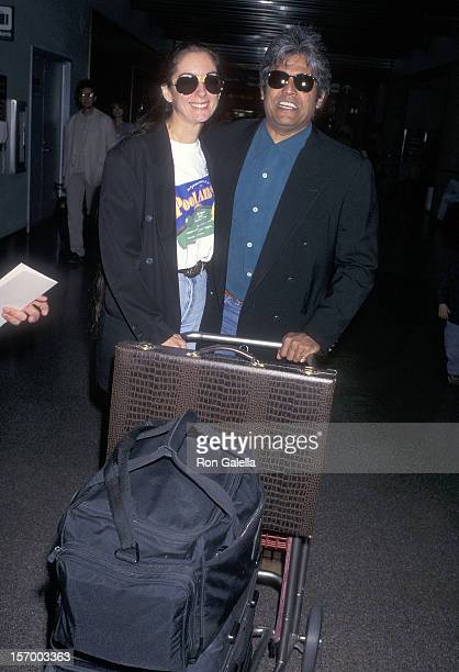 Actor Erik Estrada and wife Nanette Mirkovich depart for New York City on June 26 1996 at the Los Angeles International Airport in Los Angeles...
