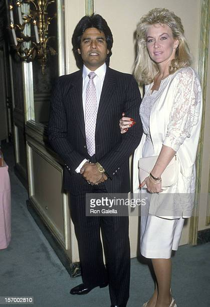 Actor Erik Estrada and wife Peggy Rowe attend the Hollywood Women's Press Club's 46th Annual Golden Apple Awards on December 14 1986 at the Beverly...