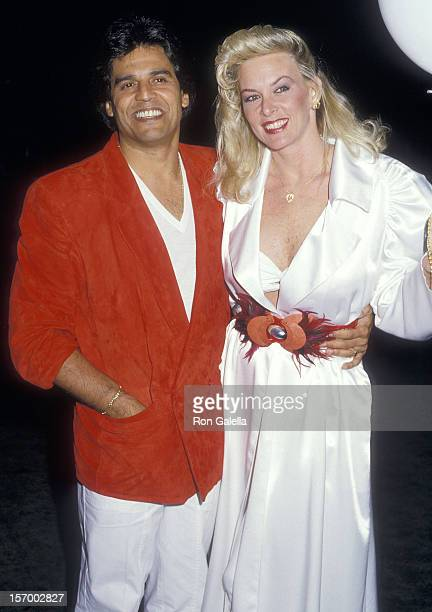 Actor Erik Estrada and wife Peggy Rowe on February 14 1987 dine at Spago in West Hollywood California