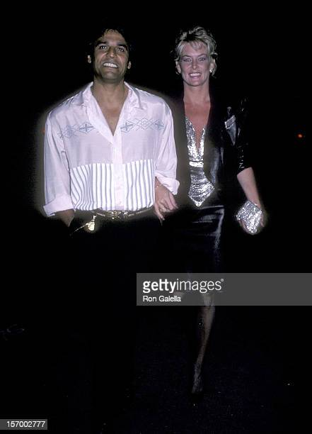 Actor Erik Estrada and wife Peggy Rowe on September 5 1986 dine at Spago in West Hollywood California