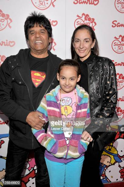 Actor Erik Estrada daughter Francesca Natalia Estrada and wife Nanette Mirkovich attend Sanrio's 50th Anniversary event at Barker Hangar on November...