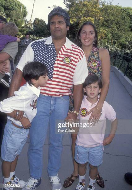 Actor Erik Estrada girlfriend Nanette Mirkovich and his sons Anthony and Brandon attend the The Greatest Show on Earth 124th Edition of the Ringling...