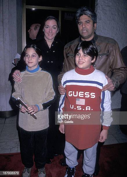 Actor Erik Estrada wife Nanette Mirkovich and his sons Brandon and Anthony attend the Firestorm Westwood Premiere on January 7 1998 at the Mann...
