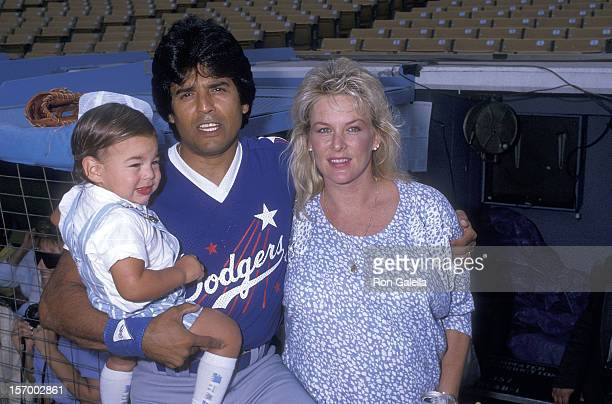 Actor Erik Estrada wife Peggy Rowe and son Anthony Estrada attend the 30th Annual Hollywood Stars Night' Celebrity Baseball Game on August 29 1987 at...