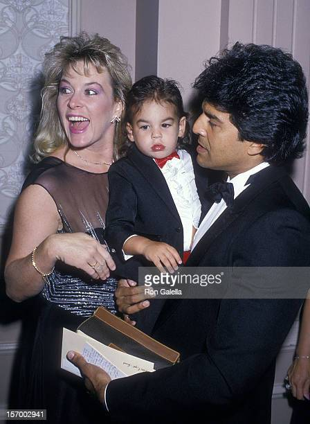 Actor Erik Estrada wife Peggy Rowe and son Brandon Estrada attend the 18th Annual Nosotros Golden Eagle Awards on May 13 1988 at the Beverly Hilton...