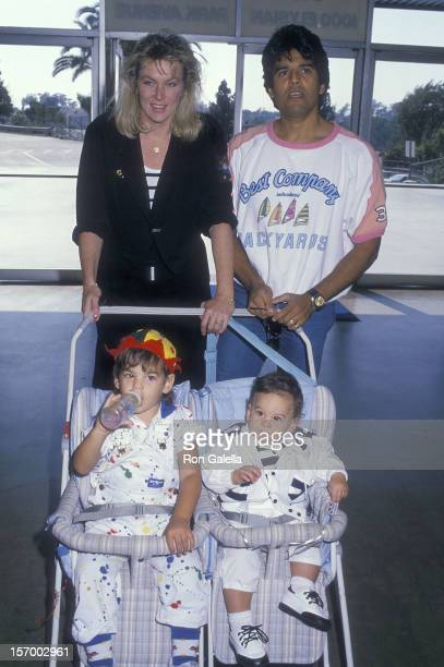 Actor Erik Estrada wife Peggy Rowe and sons Anthony and Brandon attend the 31st Annual Hollywood Stars Night Celebrity Baseball Game on August 20...