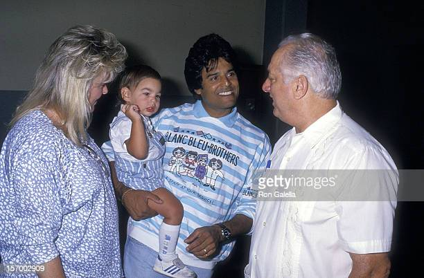 Actor Erik Estrada wife Peggy Rowe son Anthony Estrada and Dodgers coach Tommy Lasorda attend the 30th Annual Hollywood Stars Night' Celebrity...