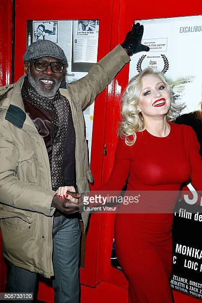 Actor Eriq Ebouaney and Actress Monika Ekiert attend Polish Hope Paris Screening At Cinema Grand Action on January 19 2016 in Paris France