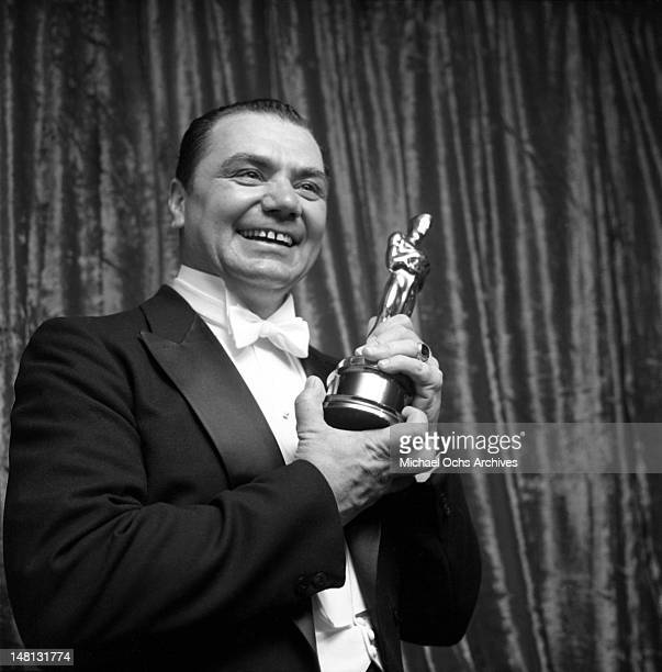 Actor Ernest Borgnine backstage at the Academy Awards ceremony after winning the Oscar for Best Actor in a leading role for the film 'Marty' on March...
