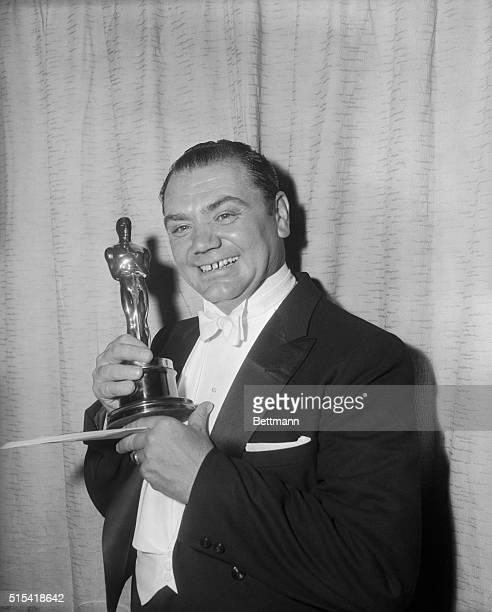 Actor Ernest Borgnine Holding Oscar Trophy
