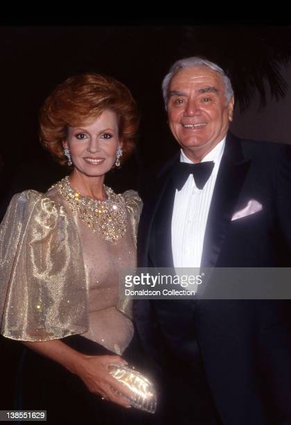 Actor Ernest Borgnine poses for a portrait with his wife Tova Traesnaes Borgnine at an event in circa 1980 in Los Angeles California