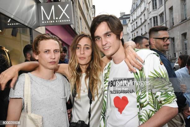 Actor Ernst Umhauer photographer Sidney Carron and Alain Fabien Delon attend the MX Paris Max Simoens Flagship Opening Show Party as part of Paris...