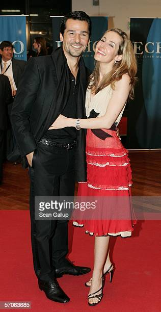 Actor Erol Sander and his wife Caroline arrive at the Echo 2006 Music Awards on March 12 2006 at the Estrel Convention Center in Berlin Germany