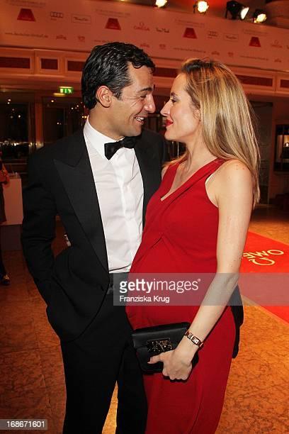 Actor Erol Sander and his wife Caroline Goddet at 37th German Filmball at Hotel Bayerischer Hof in Munich on 160110