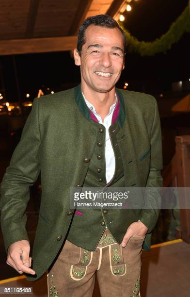 Actor Erol Sander at the Kaefer WiesnSchaenke during the Oktoberfest at Theresienwiese on September 21 2017 in Munich Germany