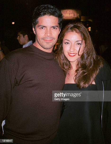 """Actor Esai Morales and actress Yvette Yates mingle at the """"Lara Croft Tomb Raider"""" post premiere party June 11, 2001 in Westwood, CA."""
