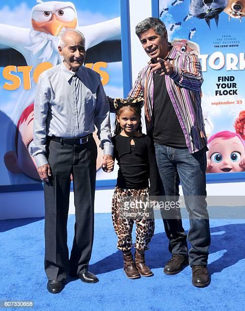 Actor Esai Morales daughter Mariana Oliveira Morales and father Esai Morales attend the premiere of Warner Bros Pictures' 'Storks' at Regency Village...