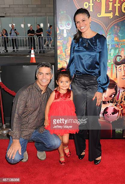 Actor Esai Morales daughter Mariana Oliveira Morales and wife Elvimar Silva attend 'The Book Of Life' Los Angeles premiere at Regal 14 at LA Live...