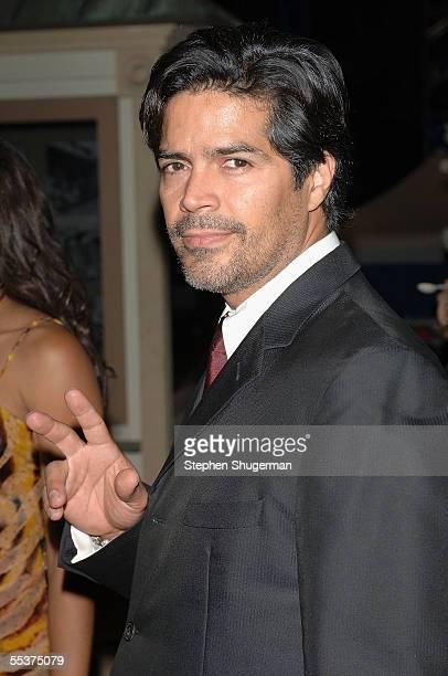 Actor Esai Morales poses backstage at PETA?s 15th Anniversary Gala and Humanitarian Awards at Paramount Studios on September 10, 2005 in Hollywood,...