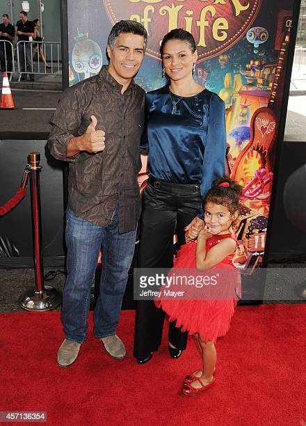 Actor Esai Morales wife Elvimar Silva and daughter Mariana Oliveira Morales attend 'The Book Of Life' Los Angeles premiere at Regal 14 at LA Live...