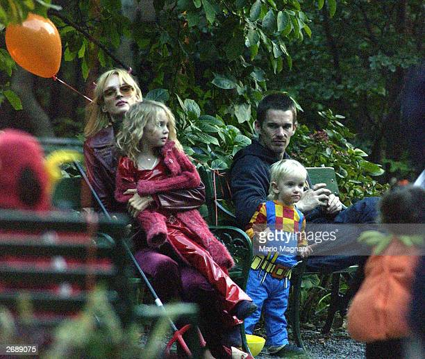 Actor Ethan Hawk visits actress Uma Thurman and his kids for Halloween October 31, 2003 in New York City.