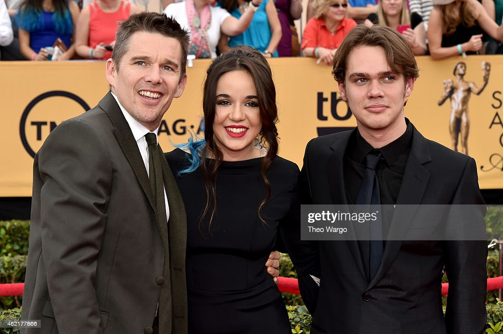 Actor Ethan Hawke, actress Lorelai Linklater and actor Ellar Coltrane attend TNT's 21st Annual Screen Actors Guild Awards at The Shrine Auditorium on January 25, 2015 in Los Angeles, California. 25184_018