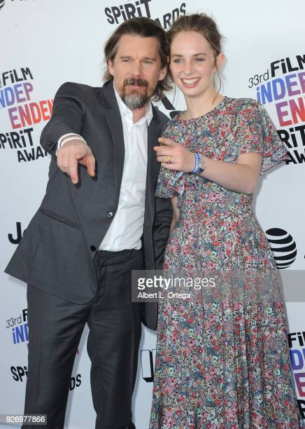 Actor Ethan Hawke and actress Maya Hawke arrive for the 2018 Film Independent Spirit Awards on March 3 2018 in Santa Monica California