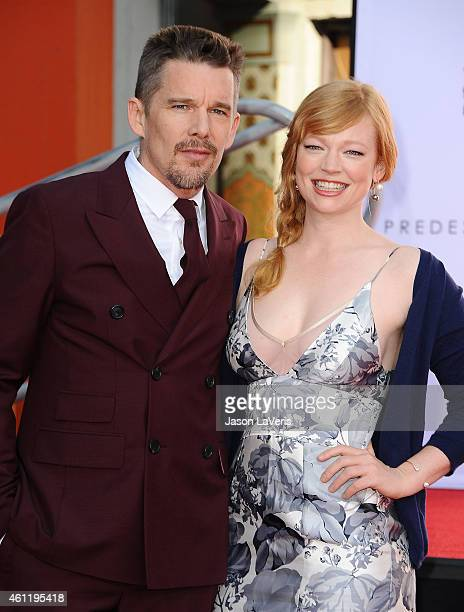Actor Ethan Hawke and actress Sarah Snook attend Hawke's handprint and footprint ceremony at TCL Chinese Theatre on January 8 2015 in Hollywood...