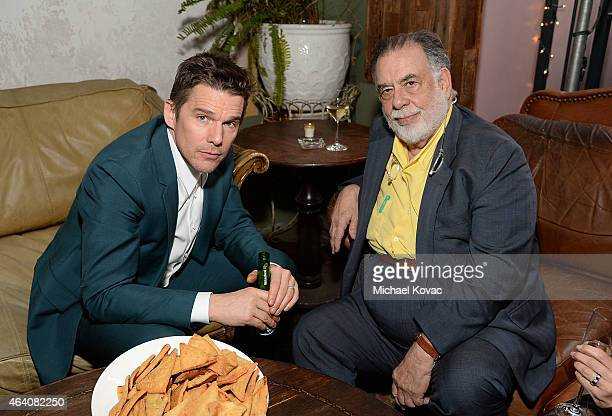 Actor Ethan Hawke and director Francis Ford Coppola attend the AMC Networks and IFC Films Spirit Awards After Party on February 21 2015 in Santa...