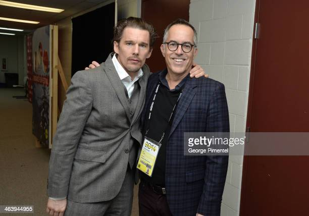 Actor Ethan Hawke and director of the Sundance Film Festival John Cooper attend the 'Boyhood' premiere at Eccles Center Theatre during the 2014...