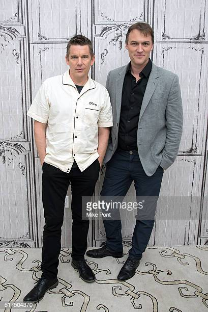"""Actor Ethan Hawke and Director Robert Budreau attend the AOL Build Speaker Series to discuss """"Born To Be Blue"""" at AOL Studios In New York on March..."""