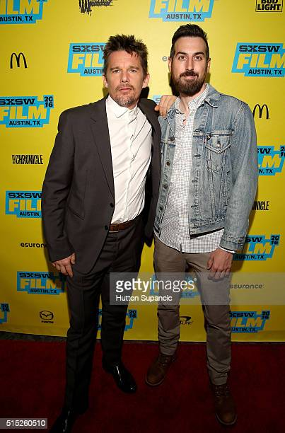 Actor Ethan Hawke and director Ti West attend the premiere of 'In the Valley of Violence' during the 2016 SXSW Music Film Interactive Festival at...