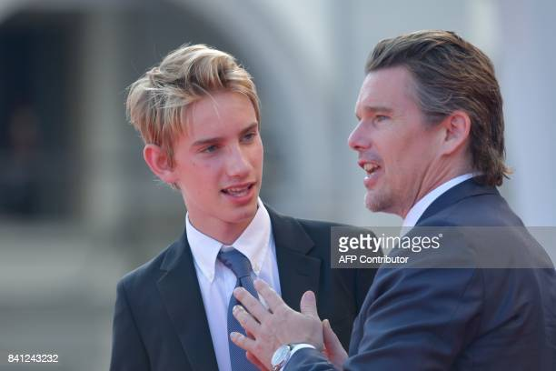 Actor Ethan Hawke and his son Levon Roan Hawke arrive for the premiere of the movie First Reformed presented in competition at the 74th Venice Film...